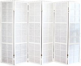 PEGANE Biombo japonés Shoji de Madera Blanco de 6 Paneles