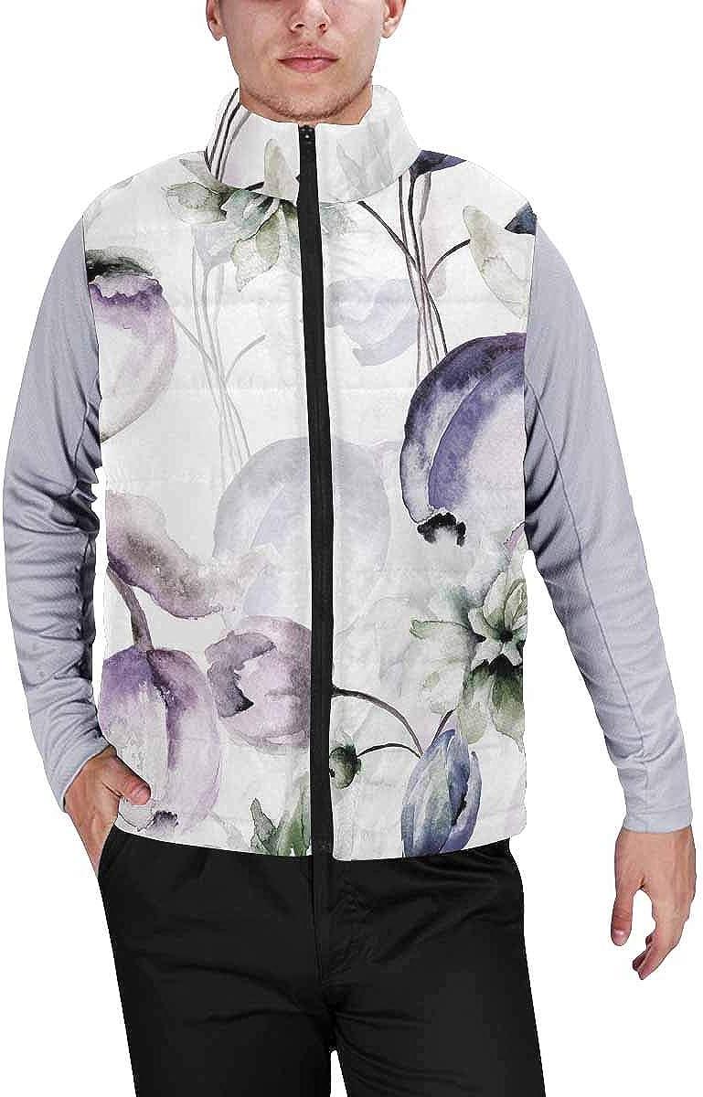 InterestPrint Men's Full-Zip Padded Vest Jacket for Outdoor Activities Beautiful Abstract Fractal