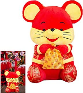 SUSHAFEN 1Piece Rat Plush Toy Red Mascot Plush Soft Doll Bolster Stuffed Animal Pillow Gift Happy 2020 Chinese Rat New Year Lucky Zodiac Present Home Plush Toy Decoration,25CM/10IN