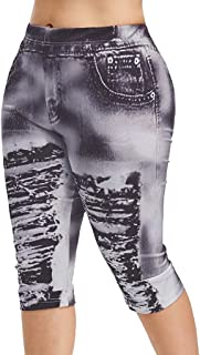 Yoga Pants Women High Waist Yoga Pants Plus Size 3D Ripped Jean Print Legging