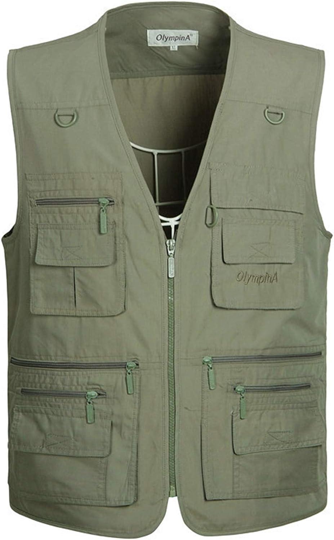 SOUGAO Mens Cotton Outerwear Vest Multi Pockets Zip Work Fishing Safari Vest