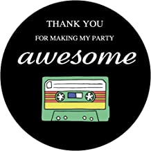 MAGJUCHE 80s Retro Thank You Stickers, Totally 1980s Party Sticker Labels for Favors, Boxes, Party Supply, 2 inch Round, 40-Pack