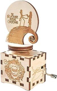 The Nightmare Before Christmas - Caja de música pintada a mano con manivela musical de madera tallada para los fans, Madera