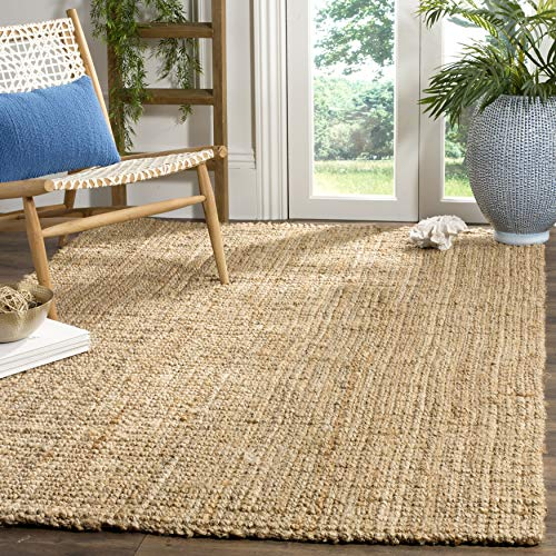 Safavieh Natural Fiber Collection NF747A Handmade Farmhouse Premium Jute Area Rug, 9' x 12', Natural