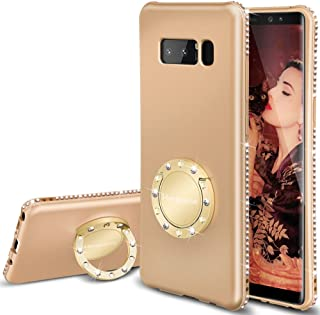 Henpone Note 8 Case for Women Glitter Gold Phone Cases with Kickstand Ring Stand Holder Girl Cute Rose Gold Cover Luxury Diamond Sparkly Bling Note 8 Case for Girls