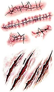 Coobbar 10pcs Halloween Zombie Scars Tattoos With Fake Scar Bloody Costume Makeup Halloween Decoration Terror Wound Scary Blood Injury Sticker (1)