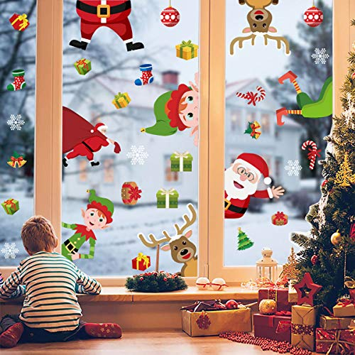 Natale Vetrofanie Fiocco Di Neve Adesivo Babbo Natale Alce Vetrofanie PVC Rimovibile Adesivi Murali Fai Da Te Finestra Decorazione Vetrina Wallpaper Adesivi