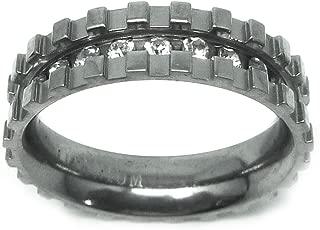6mm - Man or Ladies - Titanium Eternity Channel Set Rhinestone and Square Cut Design Wedding Band Ring