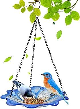 LiuSuper Hanging Bird Bath Bowl for Outdoors, 10 Inch Large Glass Bird Feeder for Garden Yard Patio Decor