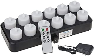 HERO-LED CD-RC-12RF-WW Wireless Inductive Rechargeable LED Electric Candles, Flameless Flickering Tea Lights with Remote Timer Controller, Set of 12, Warm White Color