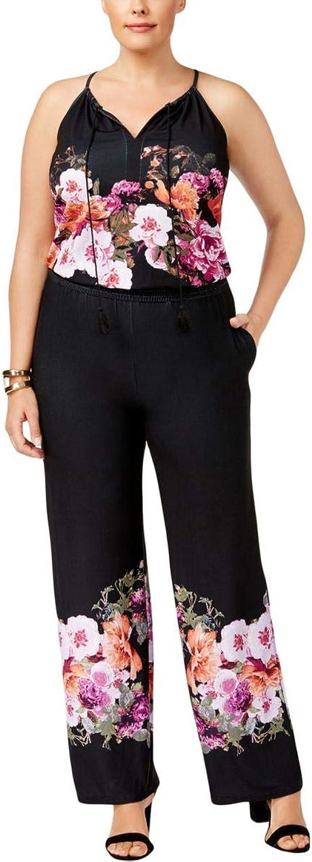 INC Womens Plus Floral Print Halter Jumpsuit Black 1X