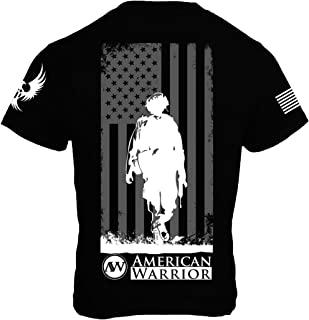 Down Range (Soldier and US Flag) Mens T-Shirt - American Warrior Collection