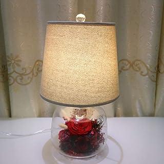 Dightyoho Lampe de Table Lampe créative Trois Ans Vue de Trois Ans Période Séché Fleurs Roses Éternelles Fleurs Éternelles...