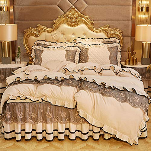 Nileco Thicken Lace Flannel Duvet Cover with Corner Ties,Winter Warm Quilt Cover,Crystal Velvet Zipper Closure Comforter Cover, Guestroom Decor