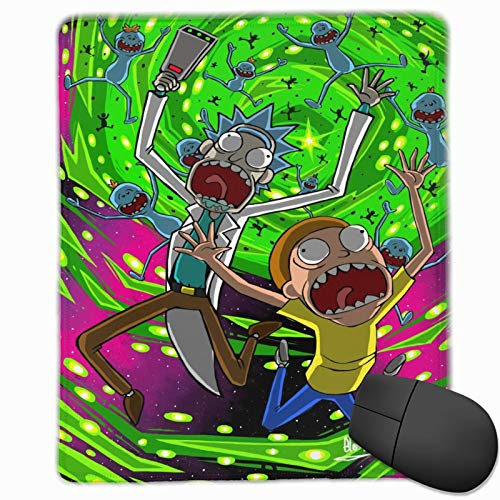 Rick and Morty (1) Mouse Pad with Stitched Edge Waterproof Non-Slip Rubber Base Mousepad Superfine Textured for Computers, Laptop, Gaming, Office & Home