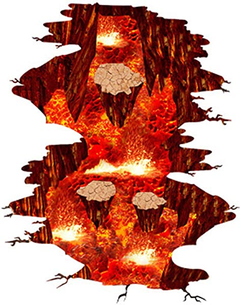 Removable 3D Floor Wall Sticker Mural Decals Creative Wall Decals Volcanic Magma Wallpaper Flame And Lava Wall Stickers Vinyl Art Decor For Home Walls Floor Ceiling Red