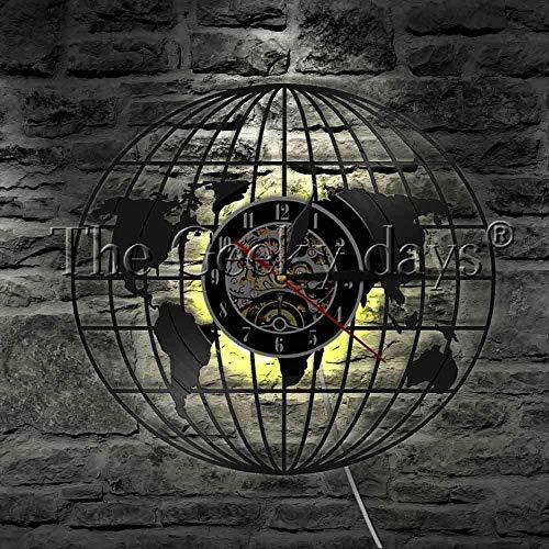 szhao 1 Vinyl Globus Wanduhr Erde Logo Weltkarte LED Hintergrundbeleuchtung Globus Karte Dekoration Wandlampe Bildung Student Geschenk