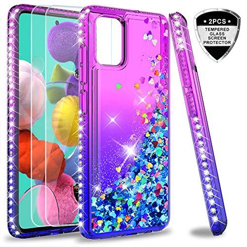LeYi per Cover Samsung Galaxy A51 / M40s con Vetro Temperato[2 Pack],Brillantini Diamond Glitter Sabbie Mobili Custodia 3D Rigida Silicone Bumper per Custodie Samsung A51 / M40s Violet Blu Gradient