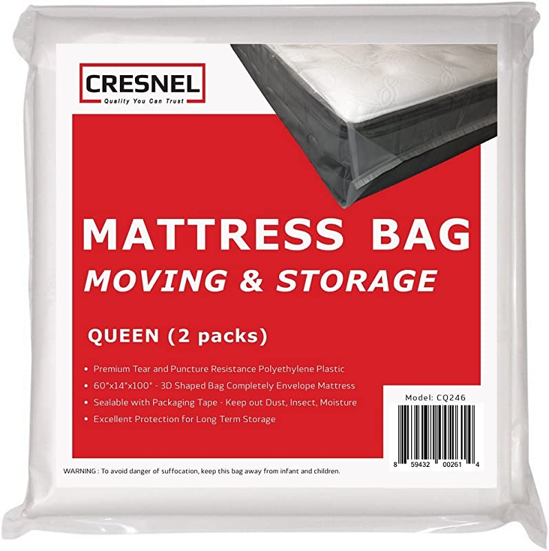 CRESNEL Mattress Bag For Moving Long Term Storage Queen Size Enhanced Mattress Protection With 5 Mil Super Thick Tear Puncture Resistance Polyethylene Value Pack Of 2pcs
