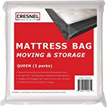 CRESNEL 4-Mil Commercial Heavy Duty/Super Strong Clear Mattress Plastic Bag Cover Sheet Storage (Different Quantity/Size Selections), Clear, Queen