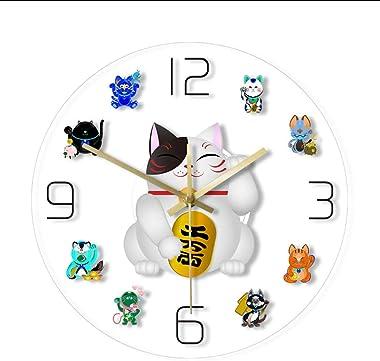 Huanxidp Maneki Neko Fortune Cat Cartoon Wall Clock Japanese Beckoning Cat Quiet Sweep Wall Watch Cute Lucky Cat Timepiece Home Decor led