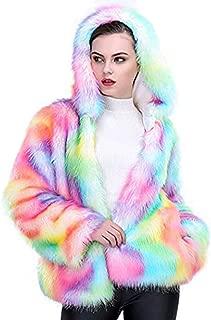 Faux Fur Coat Rainbow Color Hoodie Parkas Women Outwear Fur Jacket Faux Fur Outwear Winter