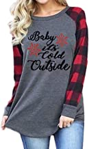 Plus Size Baby It's Cold Outside Christmas T Shirt Women Long Sleeve Plaid Splicing Tops Blouse