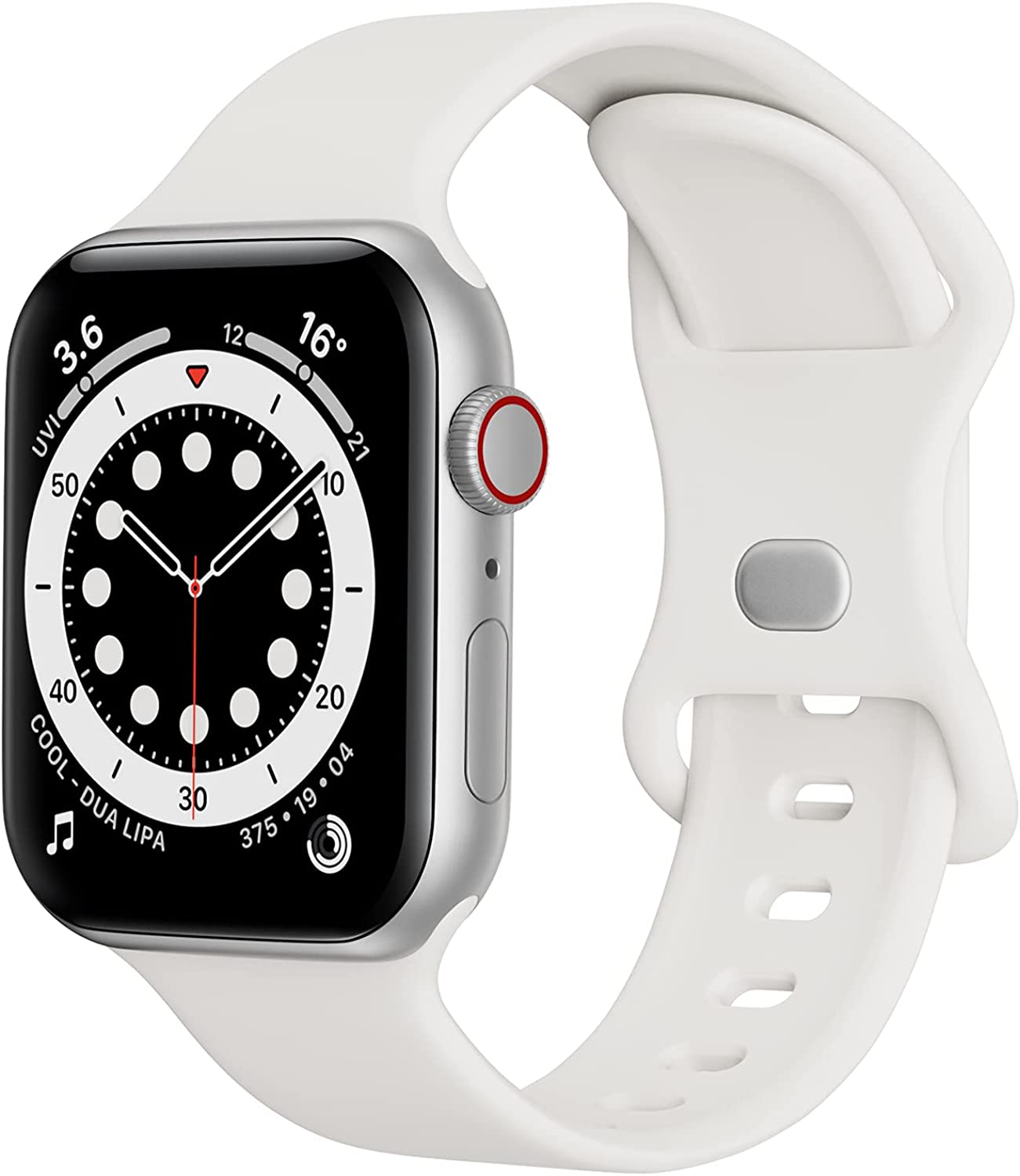 Sport Band Compatible with Apple Watch Bands 38mm 40mm iWatch band Soft Silicone Strap Wristbands Compatible with Apple Watch Series 6 5 4 3 2 1 SE Women Men (White,38/40mm,S/M)