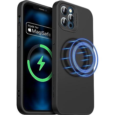ESR iPhone 12 Pro用 ケース 6.1インチ MagSafe対応 マグネット搭載 カメラ保護 液体シリコンケース ブラック