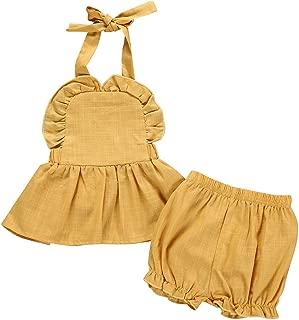 Blumenhosen-Ausstattungen Mode 2019 TOPKEAL M/ädchen Kleider Sommer Kinder Kleid S/äuglingsbaby-Fliegen-H/ülsen-R/üschen-Liebes-Bodysuit-Spielanzug