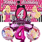 Barbie 4th Party Supplies | Decorations | Balloons | Fourth | Four | For Girls | Banner | Backdrop | Birthday | Set | Decor