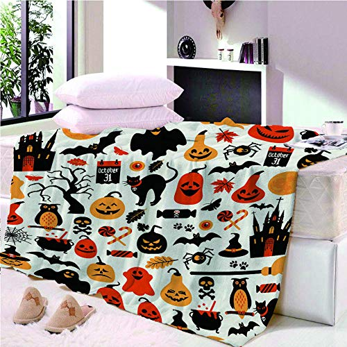 YASHASHII Blanket 3D Halloween-Owl-Ghost Printed Throw Blanket for Kids Child Adults Soft Warm Reversible Flannel Fleece Blanket for Bed and Couch 150 * 180CM
