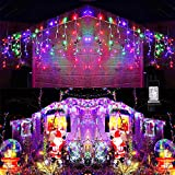 Toodour LED Icicle Lights, 360 LED Christmas Lights, 29.5ft, 8 Modes, Window Curtain Fairy Lights with 60 drops, Icicle Fairy Twinkle Lights for Christmas, Party, Holiday Decorations (Multicolor)