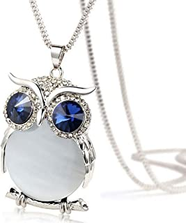 Lucky Owl Pendant Diamond Graceful Sweater Chain Long Necklace Jewelry for Women Girls Gifts (White, Alloy+Glass)