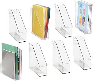 mDesign Plastic File Folder Bin Storage Organizer - Vertical with Handle - Holds Notebooks, Binders, Envelopes, Magazines - Container for Home Office and Work Desktops - 8 Pack - Clear