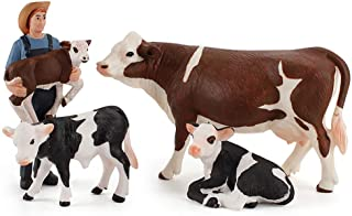 DOYIFun Set of 4 Realistic Farm Cow Model Figures Toy Set, Farm Cow Figurines Collection Playset with Farm Keepers, Farm M...