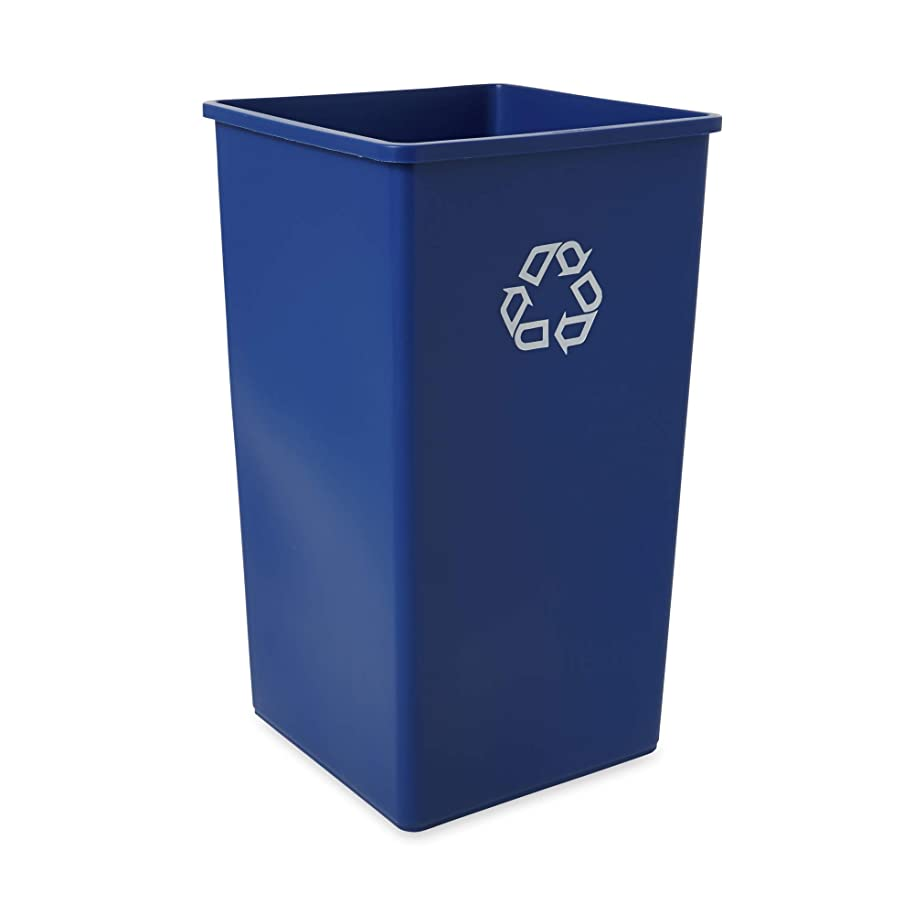 Rubbermaid Commercial Products 50-Gallon Untouchable Square Trash/Garbage Can for Offices/Stores/Restaurants, Blue Recycling (FG395973BLUE)