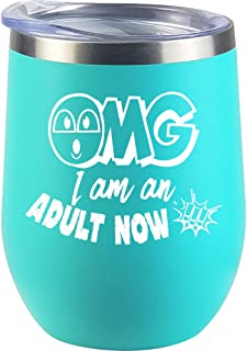 18th Birthday Gifts For Girls, Boys, Daughter, Son, Women, Christmas Gifts, Children, Her, Sister, Funny Eighteenth Bday Wine Glass Cup