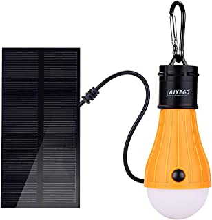 AIYEGO Portable Solar Light Bulb, Dimmable 165LM Solar Powered Lights Emergency Lights with 1000mAh Rechargeable Battery for Outdoor, Hiking, Camping, Tent, Home, Chicken Coop (Yellow)