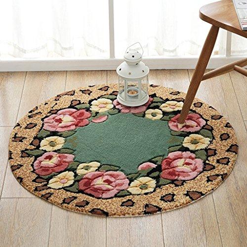CKH romantische tuin-ronde stoelmatten-draaistoel-mand-kussen-woonkamer-slaapkamer-suède-antislip rond tapijt-diameter 80 cm