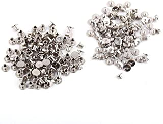 100Pcs Silver Leather Rivets Chicago Binding Screws Posts Assortment Kit for Scrapbook Photo Albums Leather Repair M5x6mm