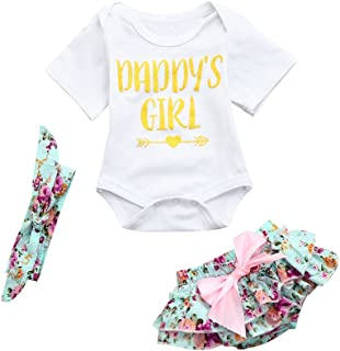60fbcfb0f0 Fartido Romper Baby Girl Letter Floral Shorts Outfits Clothes Set with  Bowknot