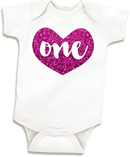 Girl First Birthday Outfit, Baby Girls One Year Old Birthday Shirt (Glitter Pink, 12-18 Months)