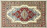 Alfombra afgana Kazak fina, 160 x 240 cm, tejida a mano, color beige geométrico