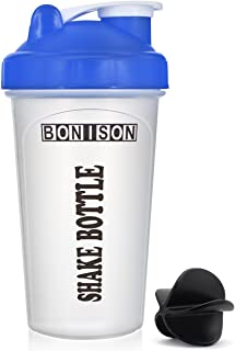 Bonison Shaker Ball Mix Whip Blend & Shake Clear Classic Colored Screw Top Shaker Bottle Wire Whisk Sport Mixer Smoothie Protein Weight Loss Shakes & Powders(14oz Blue)