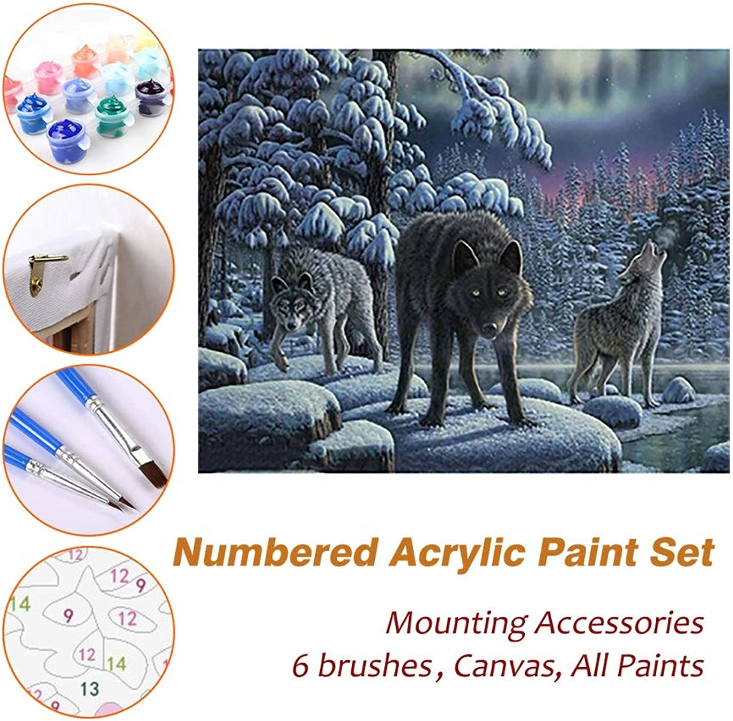 Puzzle House Paint Max Paint By Numbers Kits For Kids Adults Beginner Teens Pine Framed DIY Oil Acrylic Painting Paint Art Brush Sets, Three Wolfs 531 (color   With Pine Frame, Size   500mm x 650mm)