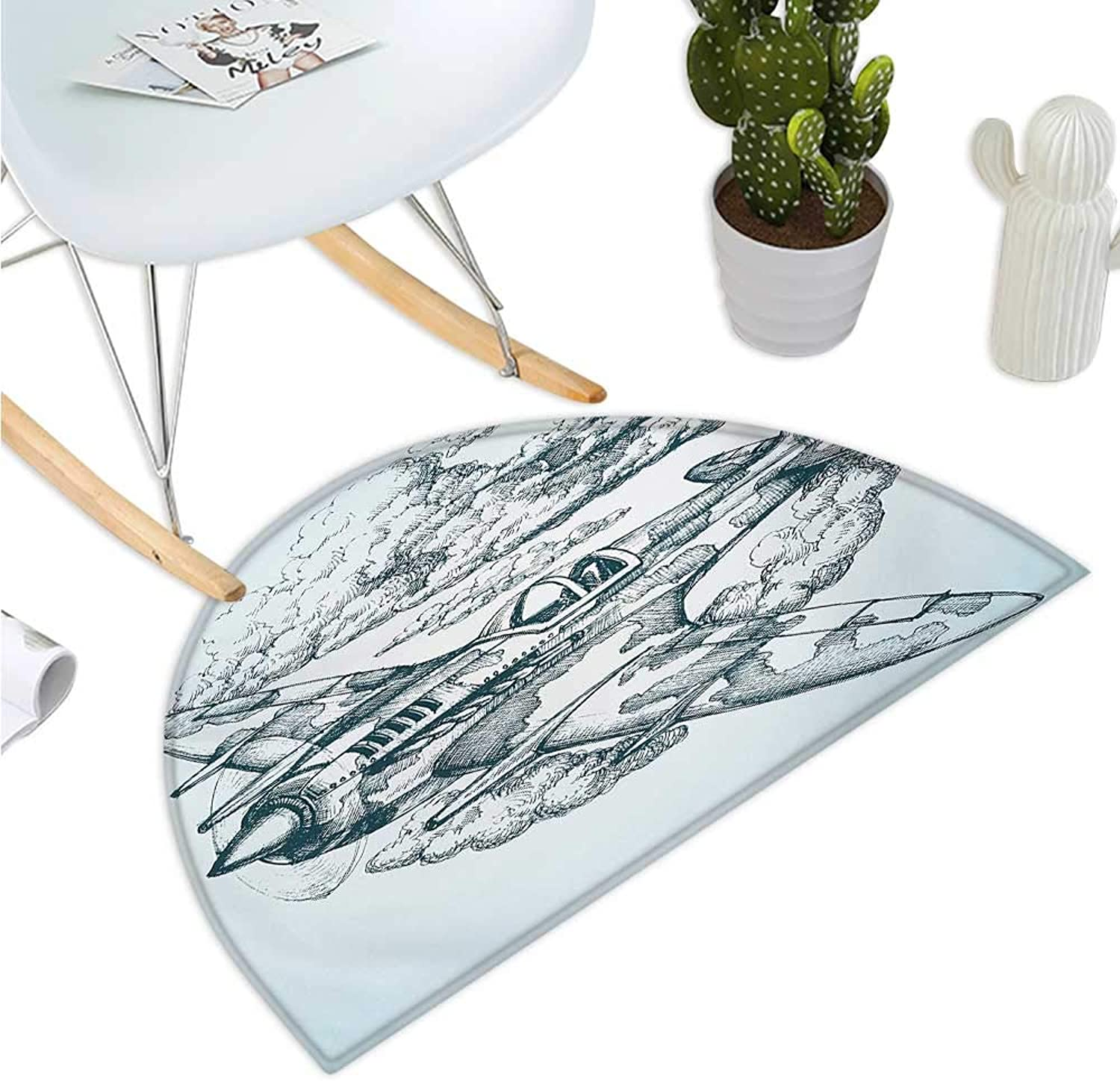 Airplane Semicircular Cushion Plane in The Sky Round Icon Vintage Military Cloud Aerospace Drawing Effect Entry Door Mat H 39.3  xD 59  Baby bluee Black