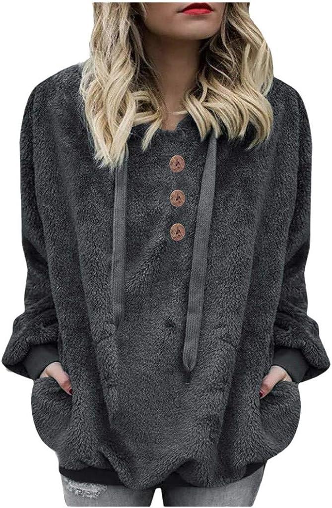 FABIURT Hoodies for Women, Womens Oversized Sherpa Pullover Hoodie Fuzzy Fleece Sweatshirt Tops Fluffy Coat with Pockets