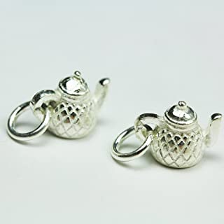 2pcs 925 Sterling Silver Jewellery findings Charm Beads,Teapot Charm,8.5x10.5mm - FDSSB0442