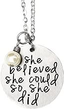 Oriya Stainless Steel She Believed She Could So She Did Necklace Bracelet Gift for Women Girl, Inspirational Necklace Bracelet